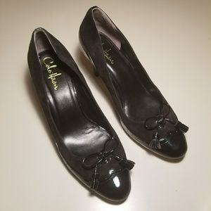 Cole Haan Suede Patent Leather Tassel Bow Pumps 8